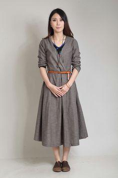 Grey V neck half sleeve long sundressmore colour by FashionColours