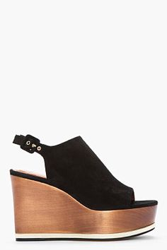 GIVENCHY Black suede gold-trimmed Mafalda wedge clogs