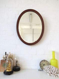 Vintage Oval Art Deco Bevelled Edge Wall Mirror with Wooden Frame