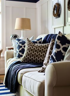 Navy Blue and White Decor . 24 New Navy Blue and White Decor . Navy and White Wedding Ideas Leather Living Room Furniture, Blue Living Room, Brown Leather Sofa Living Room, Paint Colors For Living Room, Cream Living Rooms, Brown Living Room Decor, Blue Living Room Decor, Living Room Themes, Fall Living Room Decor