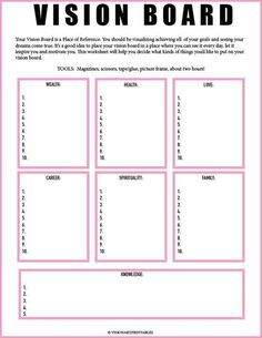 Board Worksheet// Vision Board Checklist// Law of Attraction// Visualization Worksheet// Mind Get Your Personal Walking Plan and Transform Your Body 🔥🔥🔥 PINK Vision Board and Vision Frame Goal Board, Creating A Vision Board, Visualisation, Goal Planning, Party Planning, Journal Prompts, Journals, Self Development, Software Development