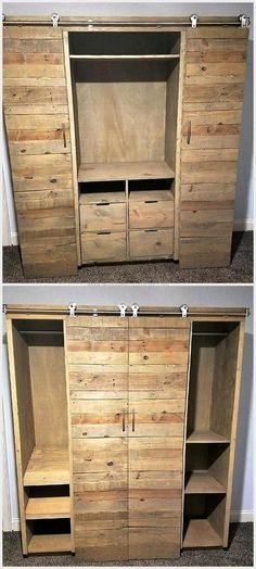Looking for an awesome gift Custom handcrafted furniture will wow them LInwood Media Cabinet with sliding barn doors and adjustable shelves Raised platform bed with stora. Wood Pallet Recycling, Pallet Crafts, Pallet Projects, Pallet Ideas, Diy Pallet, Pallet Wood, Pallet Storage, Pallet Boards, Wooden Crafts