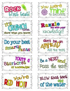 Motivational Candy themed test taking notes! For PASS testing motivation? Too Cool For School, School Fun, School Ideas, School Stuff, High School, Middle School, School Forms, School Office, School Gifts