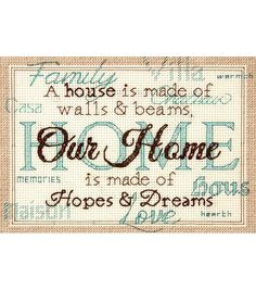 """Home Mini Counted Cross Stitch Kit-7""""X5"""" 14 Count"""