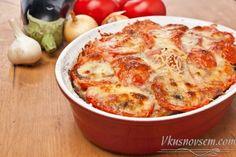 Рецепт греческой мусаки из баклажанов, картофеля и помидоров с мясным фаршем. ИнгредиентыДля мусаки:  картофель 4 шт. помидоры 3 шт. большой баклажан 1 шт. мясной фарш 500 г лук 1 шт. дольки чеснока …