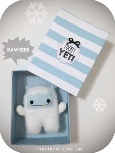 Who could resist this cute yeti? :) He makes a great stocking stuffer for the holidays. This pocket yeti is made from plush felt and high quality felt