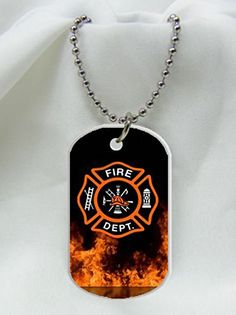 "Firefighter Symbol with Flames Fireman Emblem dog Dog Tag Pendant Necklace With 30"" Chain Measure 1.2 x 2 inches Dog Tag By GRASSSTORE and With 3.3 inch Aluminum Bead Chain Free - http://www.thepuppy.org/firefighter-symbol-with-flames-fireman-emblem-dog-dog-tag-pendant-necklace-with-30-chain-measure-1-2-x-2-inches-dog-tag-by-grassstore-and-with-3-3-inch-aluminum-bead-chain-free/"