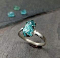 Raw Stone Rough Apatite Neon Blue Sterling Silver Gemstone Cocktail Ring