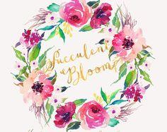 Watercolor flower wreath-FLOURISH /Individual PNG от GraphicSafari
