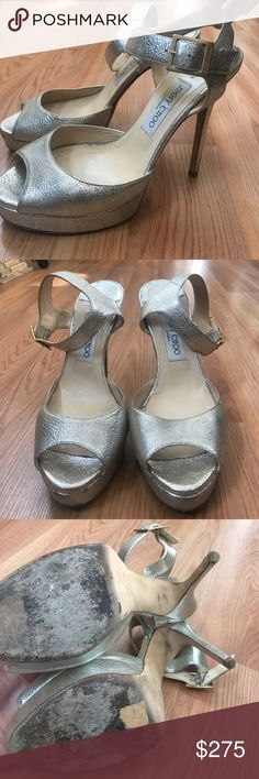 Jimmy Choo Linda gold foil platform sandals Worn only a few times. There is a small cosmetic issue with the left strap but it does not effect the functionality Jimmy Choo Shoes Platforms