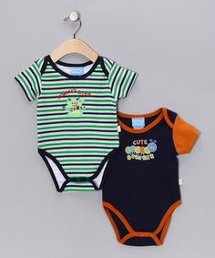 Take a look at this Green & Navy Little Critter Bodysuit Set by Duck Duck Goose on #zulily today!