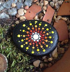 mandala stone river rock meditation stone by ZenRiverStudio