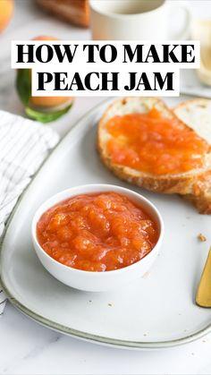 Jelly Recipes, Fruit Recipes, Peach Jam Recipes, Homemade Jelly, Homemade Jam Recipes, Butter Ingredients, Jam And Jelly, Canning Recipes, Easy Meals