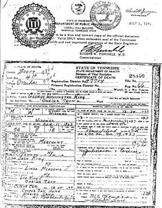 George Washington King Death Certificate,Scott County Tennessee