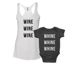 WINE\WHINE | Mommy and Me Tank Top Set matching family shirts