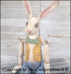 Handmade OOAK Easter Rabbit Primitive FolkArt Bunny Doll Wooden Peter Cottontail