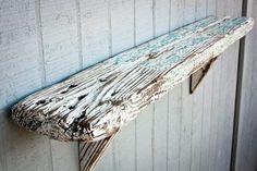 39 x 6 White and Teal Rustic Barn Board Shelf Old