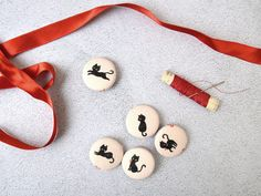 Fabric covered buttons for sewing Black Cat Fabric  Set of 5
