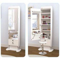 New makeup vanity mirror diy dressing tables ideas Mirrored Bedroom Furniture, Bedroom Dressers, Closet Bedroom, Bedroom Decor, Mirror Bedroom, Master Bedroom, Bedroom Lighting, Bedroom With Vanity, Bedroom Cabinets