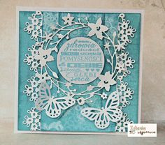 blue and white card with Memory Box die cuts and punched butterflies...fragile and beautifull...