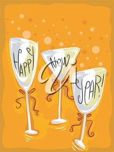 Happy New Year~Illustration of Wineglasses with a New Year Theme Happy New Year Cards, Happy New Year 2019, New Year's Kiss, New Years Eve Day, Canvas Art Projects, New Year Art, New Year Illustration, Quotes About New Year, Year Quotes