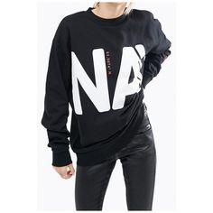 Oversized Letter Number Printed Long Sleeve Round Neck Casual Pullover... (€29) ❤ liked on Polyvore featuring tops, hoodies, sweatshirts, round neck top, long sweatshirt, long sleeve oversized top, long oversized tops and oversized pullover