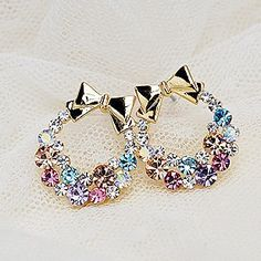 Aliexpress.com : Buy 72034 accessories delicate sparkling diamond multi colored rhinestone cuicanduomu bow stud earring from Reliable earrings sterling suppliers on Jessie's shop. $10.19
