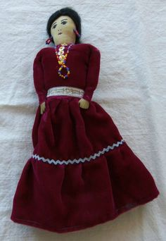 Vintage Navajo American Indian Doll Arizona Woman Handmade Cloth Beads | eBay