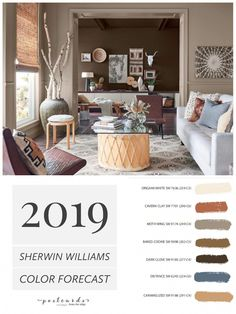 2019 Paint Color Forecast from Sherwin Williams 2019 Paint Color Forecast from Sherwin Williams LOVE this warm neutral paint color palette and all the new ones from Sherwin Williams paintcolors paintcolor colortrends colorforecast interiordesign Popular Paint Colors, Warm Colour Palette, Paint Color Palettes, Neutral Paint Colors, Bedroom Paint Colors, Interior Paint Colors, Paint Colors For Living Room, Paint Colors For Home, Warm Bedroom Colors