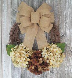 Small Hydrangea Wreath, Front Door Wreath, Rustic Decor, Year Round Wreath, Gifts