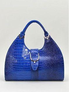 Blue Snakeskin Textured Vegan Faux Leather Satchel Handbag Purse Floral Lining