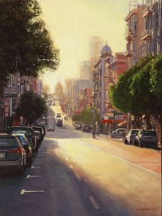 "Greg Gandy, ""Sunset on Hyde and Geary"" - 12x9, oil on panel--at Principle Gallery"