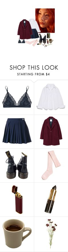 """""""school vibes"""" by zzzlizzz ❤ liked on Polyvore featuring STELLA McCARTNEY, Fila, MANGO, Dr. Martens, H&M, INDIE HAIR and OKA"""