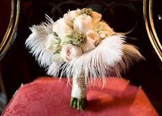Gatsby Inspired Wedding Photoshoot… love the idea of feathers in the bouquet.to match with a feather fascinatorlove the idea of feathers in the bouquet.to match with a feather fascinator Great Gatsby Wedding, Gatsby Theme, 1920s Wedding, Art Deco Wedding, Wedding Blog, Wedding Planner, Dream Wedding, Gatsby Style, Wedding Ideas