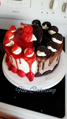 half and half, cake, oreo, strawberry, chocolate, drip icing, cakes, baking, catering, whipped cream, strawberry rose, strawberry jam,