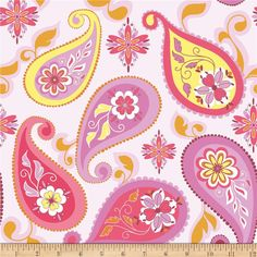 Riley Blake Splendor Large Paisley Pink from @fabricdotcom  Designed by Lila Tueller Designs for Riley Blake, this cotton print is perfect for quilting, apparel and home decor accents.  Colors include white, yellow, orange, plum, orchid and shades of pink.