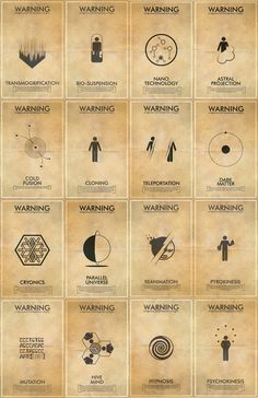 Fringe Science Fiction Inspired Iconography Poster Series - 16 11x17 Vintage Warning Posters
