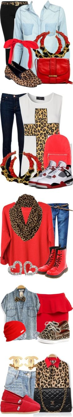 """Red/Cheetah/Leopard"" by nenedopesauce ❤ liked on Polyvore"
