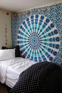 Gypsy Aquamarine Mandala Wall Tapestry Blue Green White Teal