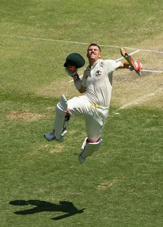 David Warner of Australia celebrates after reaching his century during day three of the First Ashes Test match between Australia and England at The Gabba on November 23, 2013 in Brisbane, Australia. (November 22, 2013 - Source: Ryan Pierse/Getty Images AsiaPac)