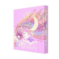 Starlight Lullaby Pink Wrapped Canvas Art by #MoonDreamsMusic #WrappedCanvas #NurseryArt #StarlightLullaby