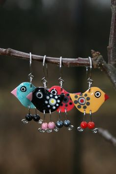 Cute colorful earrings bright bird earrings by CinkyLinky, $21.00