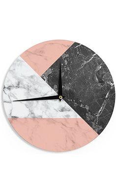 "KESS InHouse KESS Original ""Geo Marble and Coral"" Black Art Deco Wall Clock, 12"" Best Price"