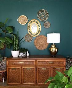 How To Use Dark Green in Your Living Room — Melanie Jade Design - The most beautiful green and mid century furniture with wicker accessories - Susie Brown Style - Teal Rooms, Teal Living Rooms, Accent Walls In Living Room, Home Living Room, Green Rooms, Living Room Designs, Blue Feature Wall Living Room, Dark Teal Bedroom, Living Room Turquoise