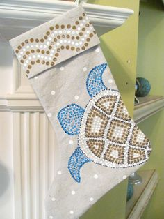 Sea Turtle Design Hand Painted Canvas Cuffed by LucyDesignsonline, #stocking #beach #nautical