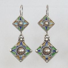 Algeria | Kabylia Earrings.  These are high-grade silver with typical rich colors of enamel work.