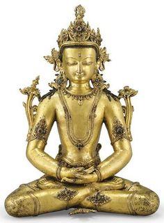 Gilt bronze statue of Amitayus, century, Tibet. Amitabha Buddha, Gautama Buddha, Buddha Buddhism, Tibetan Buddhism, Art Buddha, Statues, Tibet Art, Southeast Asian Arts, Buddhist Symbols