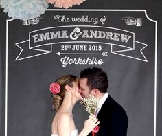 A fun and fabulous addition to any big day, this large chalkboard effect backdrop is a real showstopper!Personalised to include your names, wedding date and place of marriage. Printed on canvas with a matt, glare free finish they have been designed to perfectly frame a couple or small group and will give any photo an extra vintage twist. The fun doesn't end there, why not also create an impressive guest book by providing chalkboard pens so your guests can leave messages of love. We used ...
