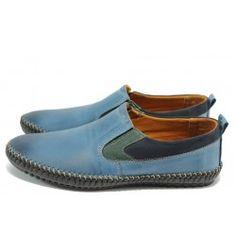 Сини ортопедични мъжки обувки тип мокасини, естествена кожа МИ 40 синKP