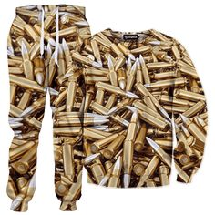 Getonfleek™ presents the high caliber Bullet Collection tracksuit, bullet riddled with a shining bandolier of style. Load-up the big guns, toggle off the safety and wage all out war with these deadly armor-piercing rounds. Collect your new shipment of killer firearms and bathe in that metallic stockpile of ammo. Get your most trusted boys and protect that precious turf. When invaders come charging in, keep shooting until they are dead with this thug tier design.